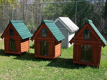 donated hand built dog houses