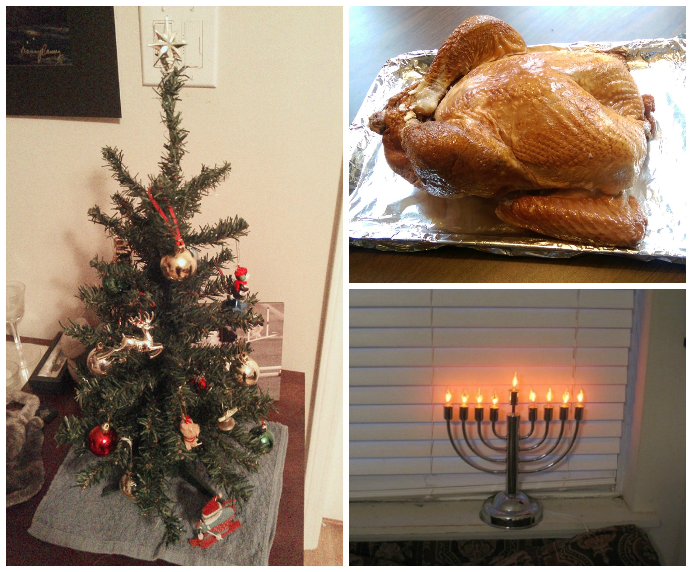 a christmas tree, turkey, and chanukah menorah to respresent the year end holiday seasons