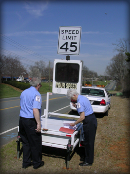 COPs setting up speed monitor