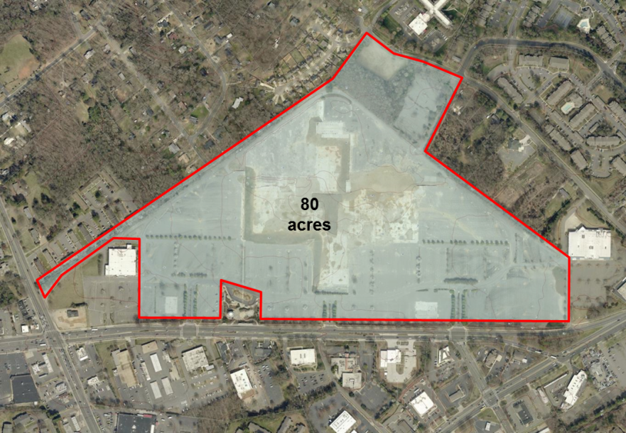 Aerial view of Eastland Mall site
