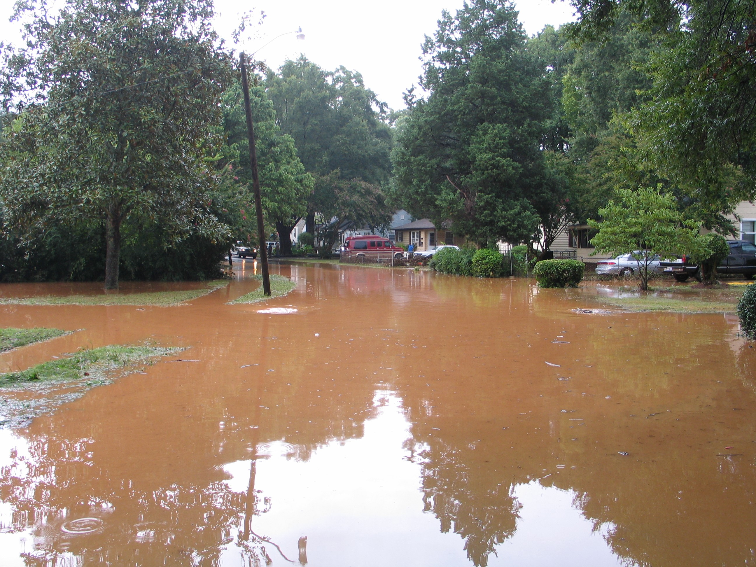 Flooding in a Charlotte Neighborhood