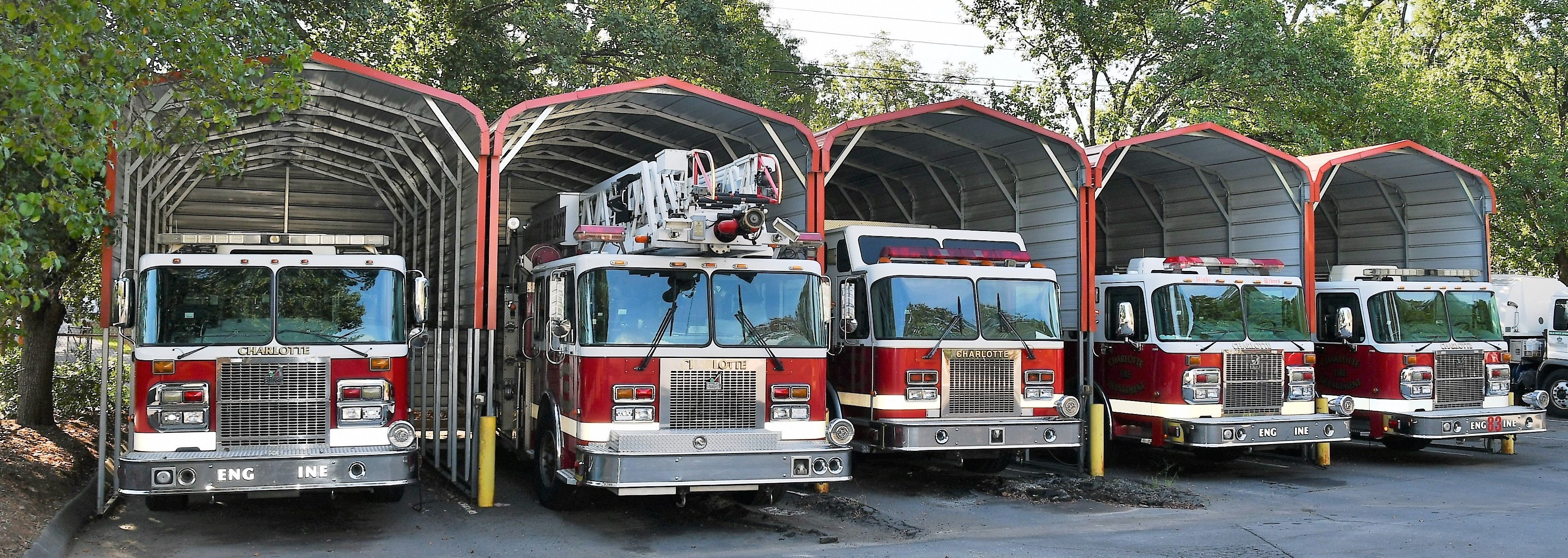 Fire engines at Otts Street Fleet facility