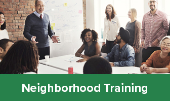 Neighborhood Training graphic with people talking at a meeting