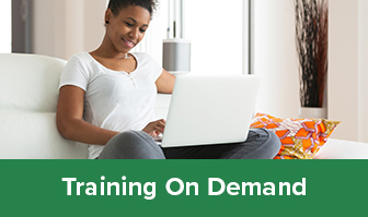 Training On Demand Graphic. Woman sitting on laptop.