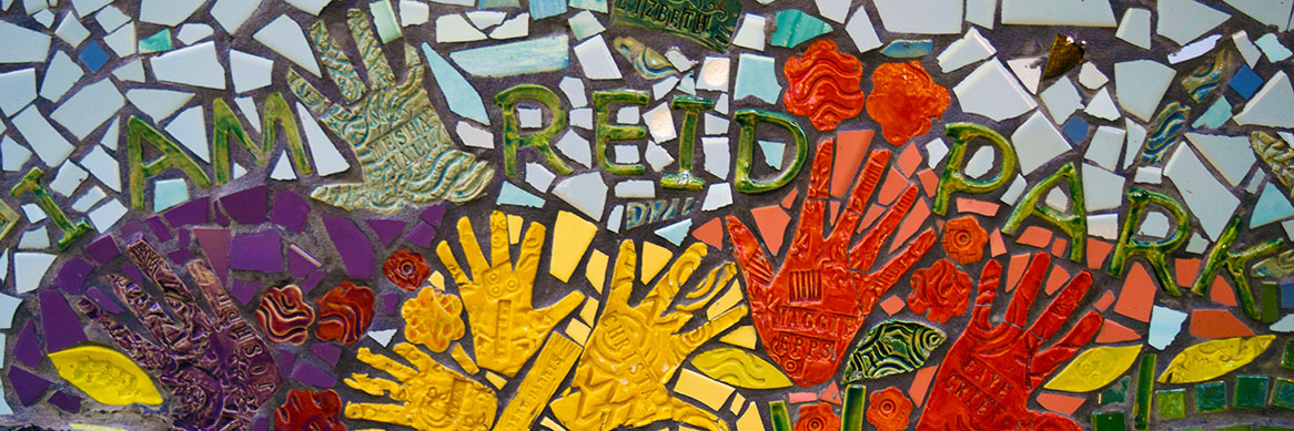 Reid Park tile mosaic sign