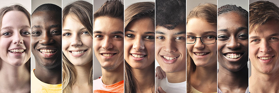 Closeup shots of diverse teens placed close together
