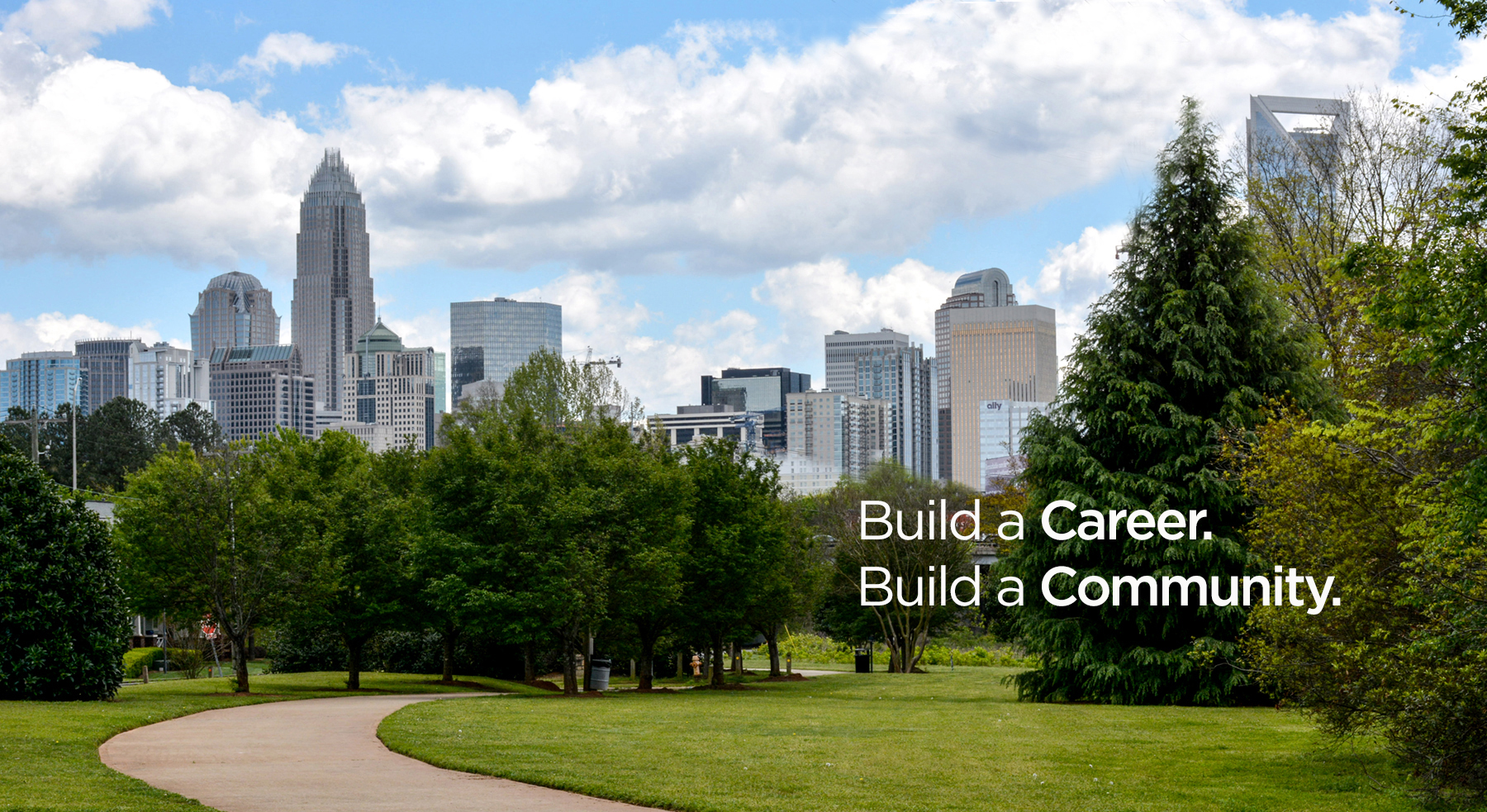 City skyline with text Build a Career; Build a Community