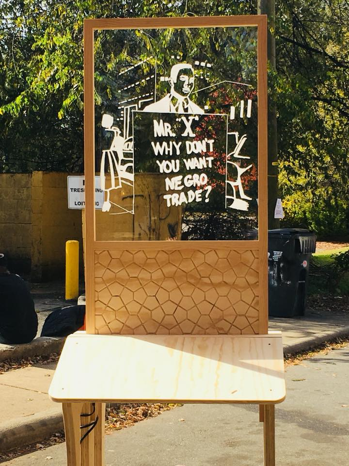 Handmade furniture featuring Malcolm X