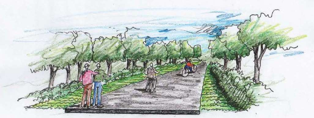 Rendering of 16-foot-wide trail