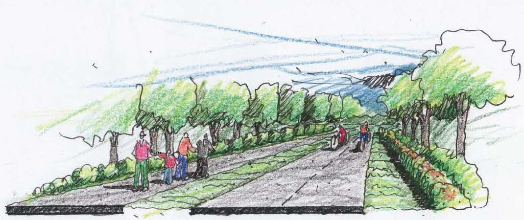 Rendering of 25-foot-wide buffered trail