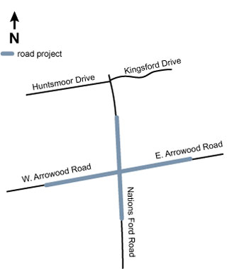 Map of Arrowood Nations Ford project area