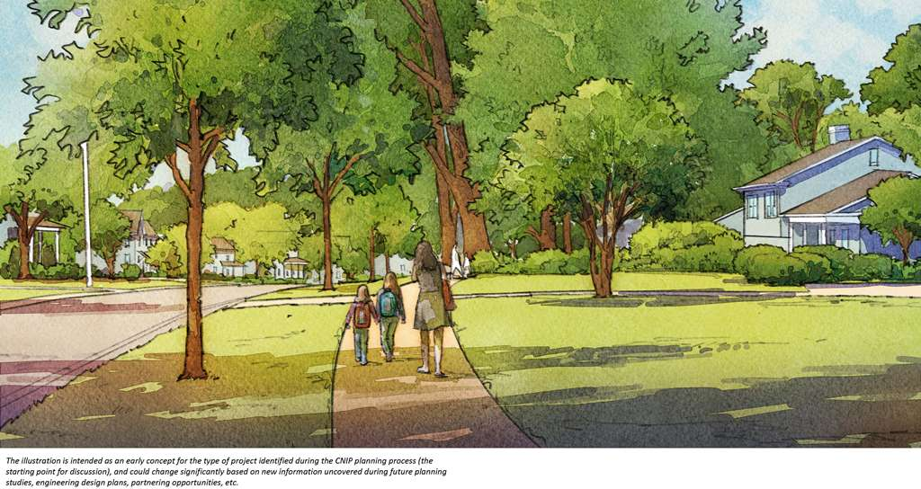 Rendering of Barclay Downs sidewalk
