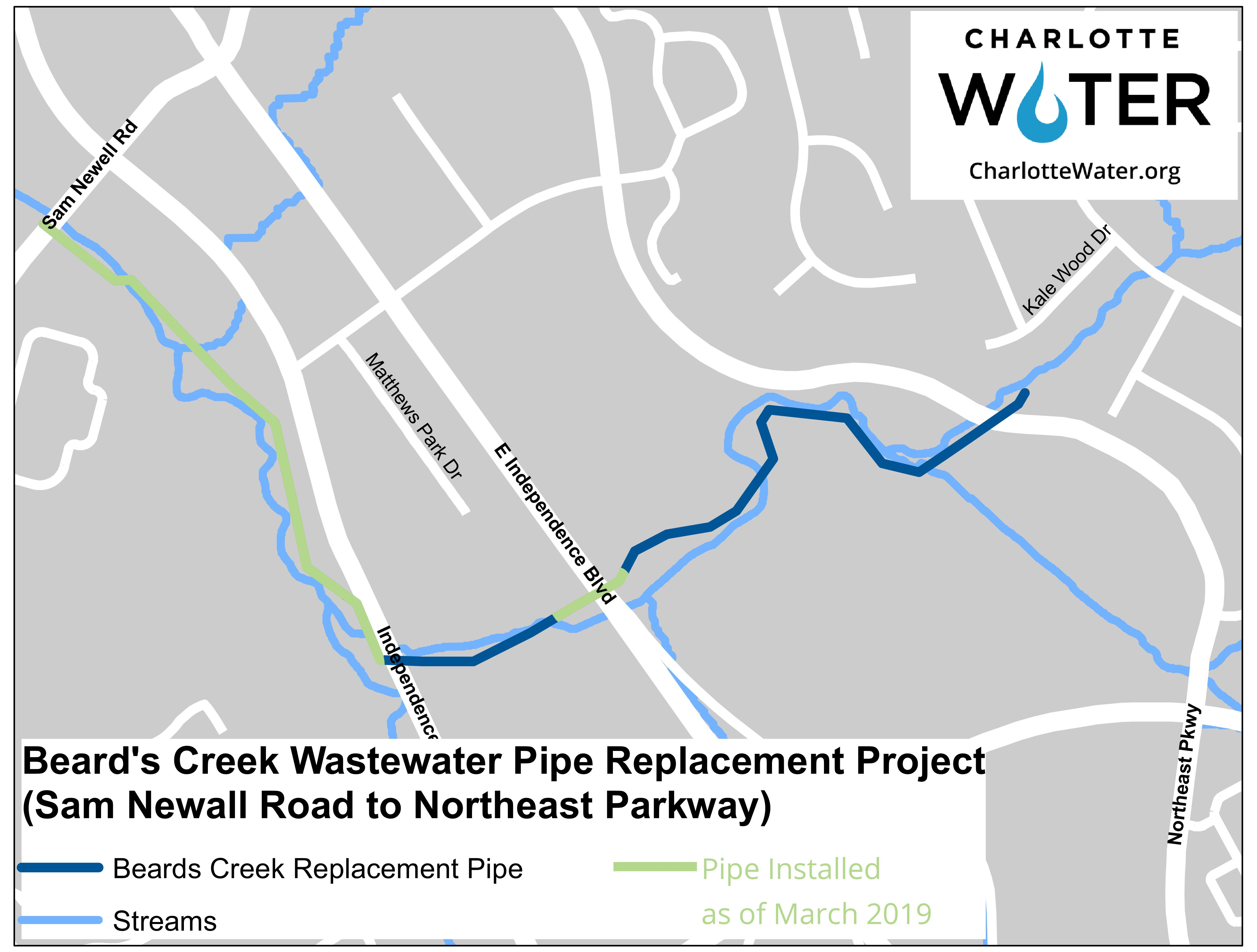 Construction Map showing the wastewater replacement construction