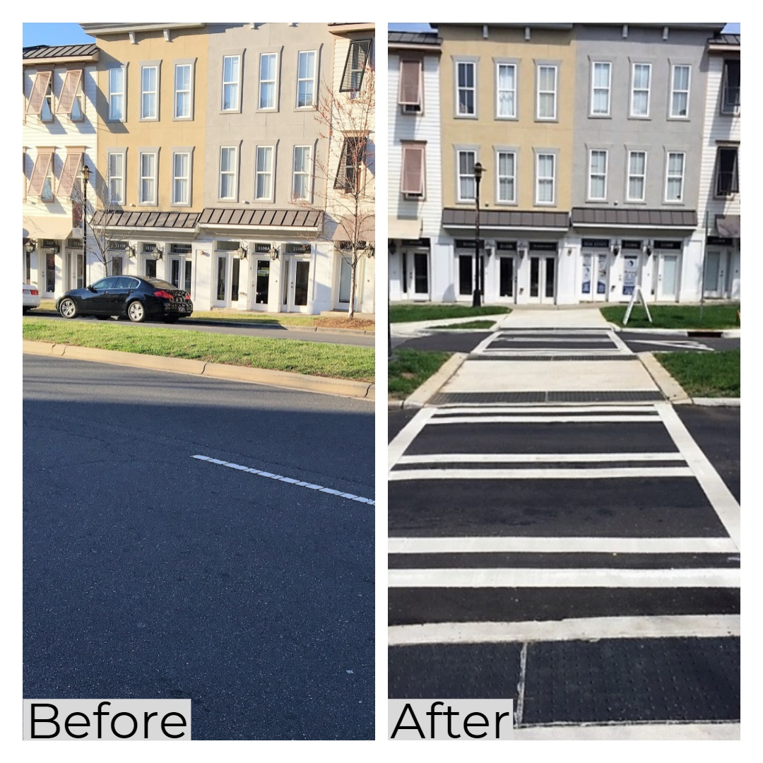 Pedestrian crossing before and after construction