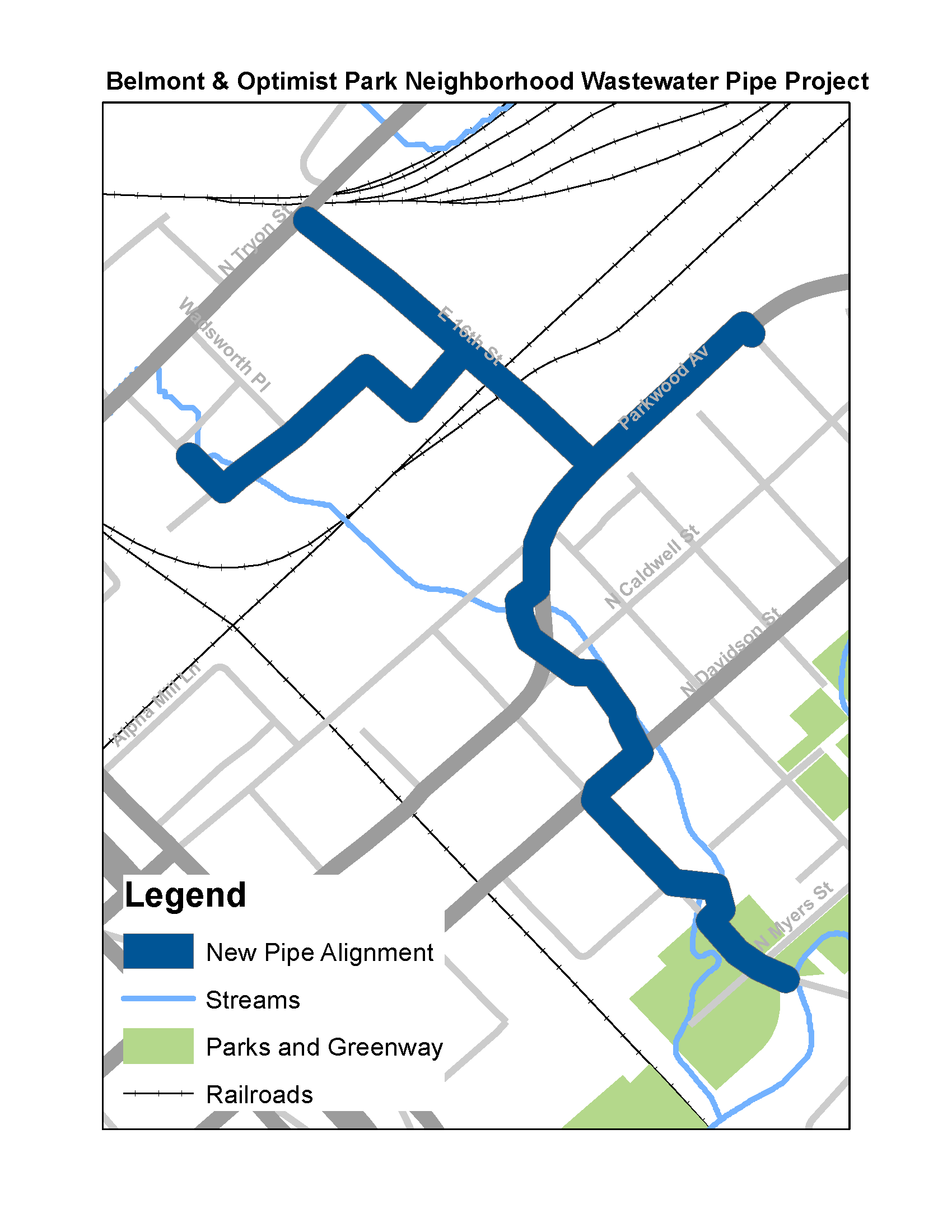 Belmont - Optimist Park Wastewater / Sewer Replacement Map