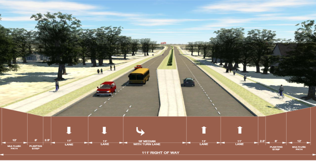 rendering of Brown-Grier Road section
