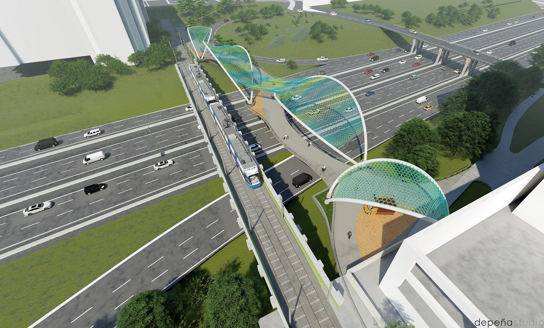 Conceptual rendering of double-span bridge over I-277 from overhead