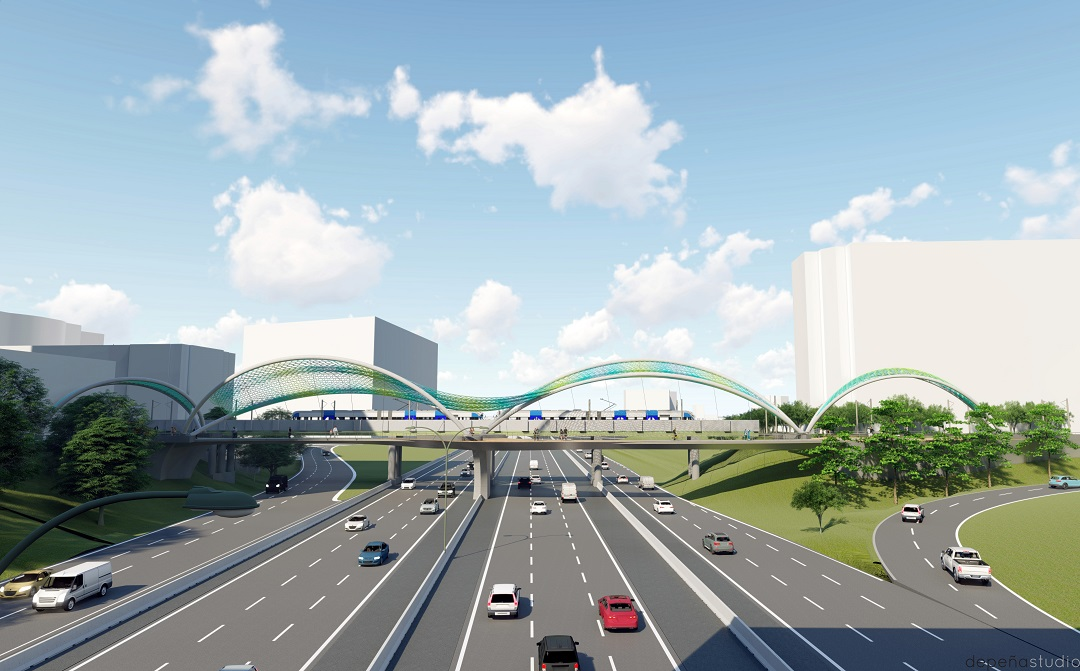 Conceptual rendering of double-span bridge over I-277