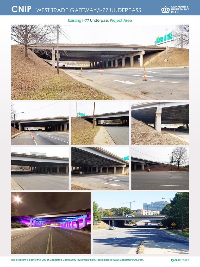 I-77 and West Trade underpass existing conditions