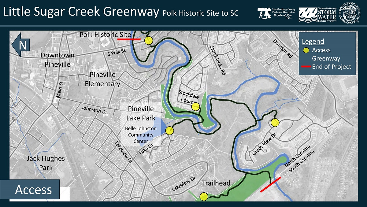 Little Sugar Creek Greenway Polk Historic Site to SC access map