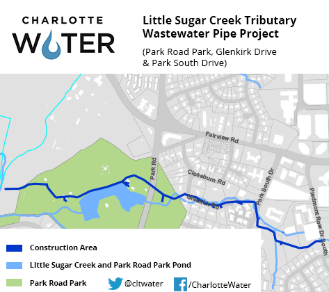 Little Sugar Creek Tributary Wastewater Pipe Project Map