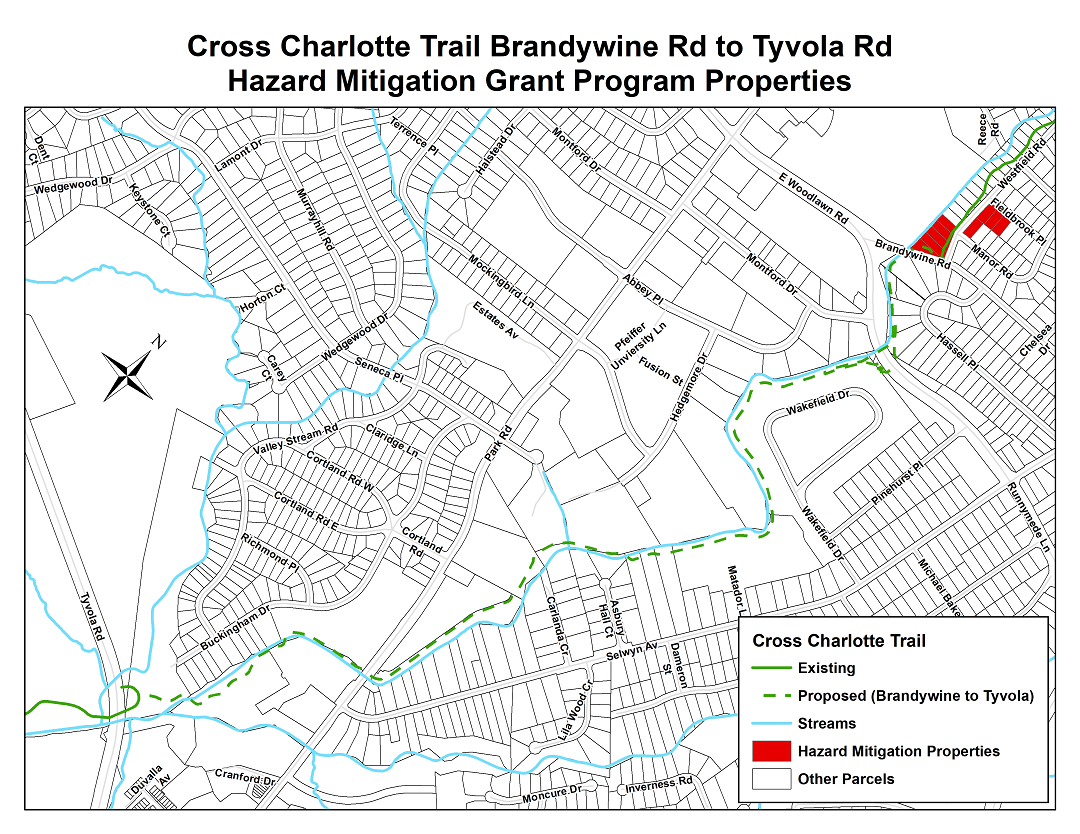 Cross Charlotte Trail Brandywine Road to Tyvola Road Hazard Mitigation Grant Program Properties