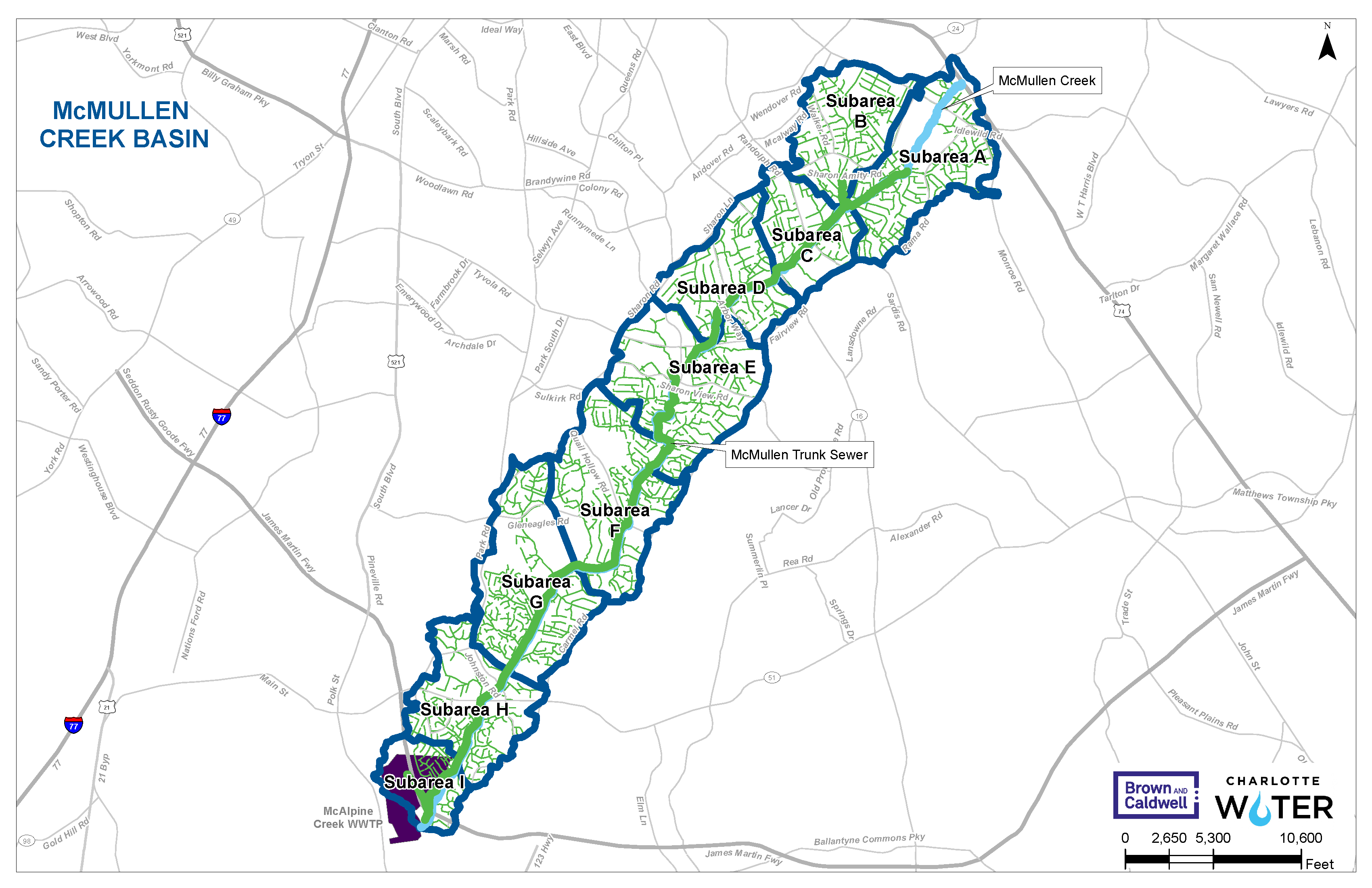 McMullen Creek Basin Study Map for Charlotte Water