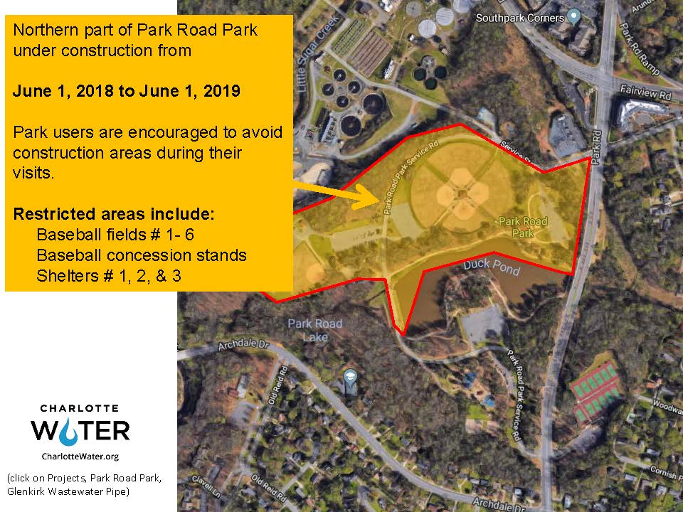 Project Map that shows the temporary closing of Park Road Park