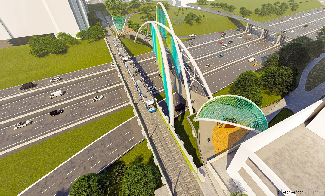 Conceptual rendering of single-span bridge over I-277 from overhead