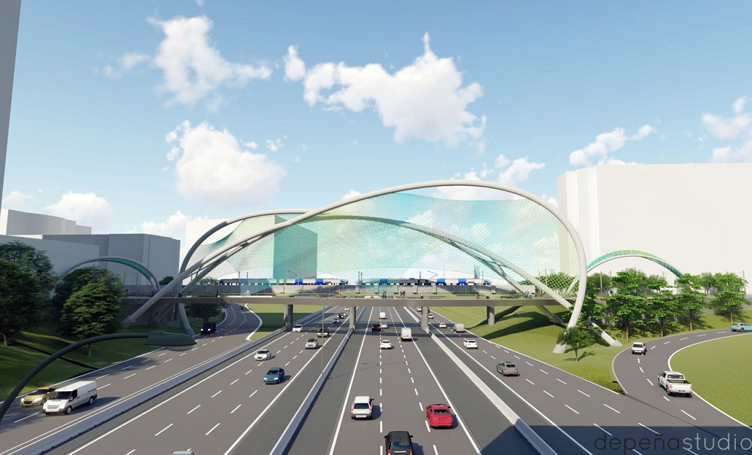 Conceptual rendering of single-span bridge over I-277