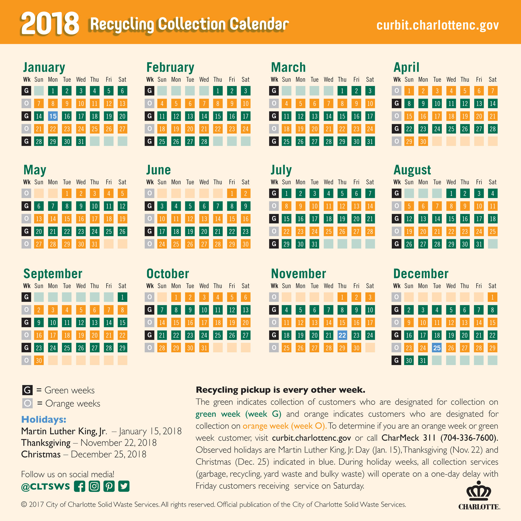 solid waste services recycling collection schedule