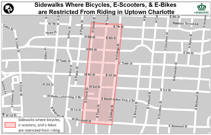 Bicycles, E-Scooters & E-Bikes are Restricted from Sidewalk Riding in Uptown Charlotte