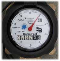 An image of the water meter dial that shows how much water you are using.