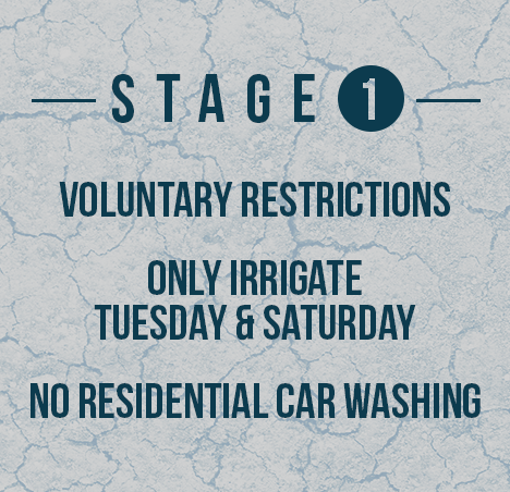 Stage 1 - Voluntary Restrictions, Only Irrigate Tuesday & Saturday, No residential car washing