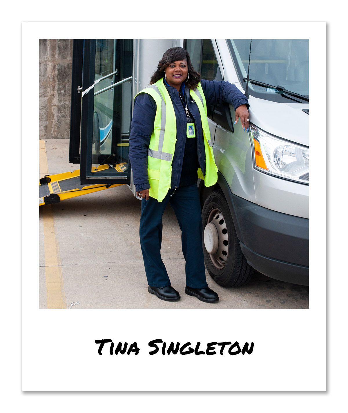 Click on image of Special Transportation Service (STS) Operator - Tina Singleton to hear and see the video