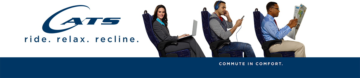 Commute in Comfort - image of people riding to commute in nice seats, while reading listening to music and working on a laptop