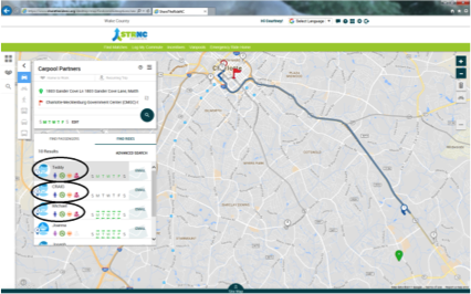 Image of a Screenshot of Way2GO CLT's Trip Planning Website with a carpool partners circled on the screen