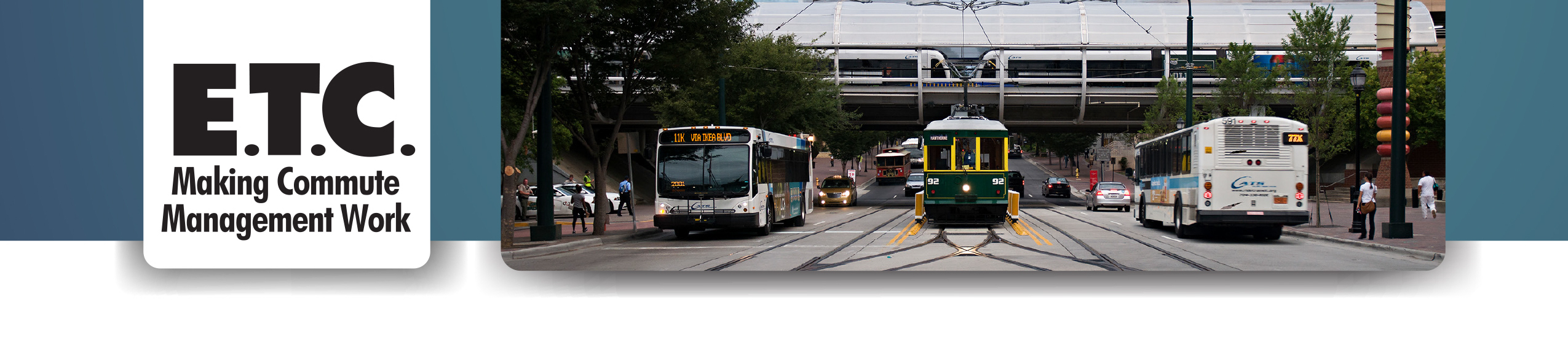 Image of Employee Transportation Coordinator Program Banner with images of public transit options