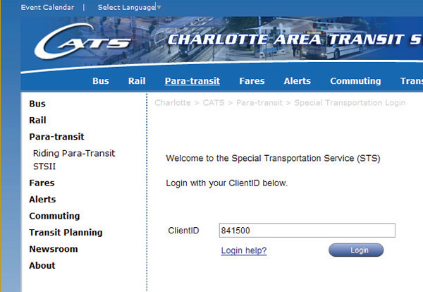 Screen shot of Welcome screen to book a trip on STS
