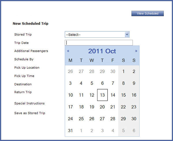 picture of screen shop of calendar to select a date for a trip