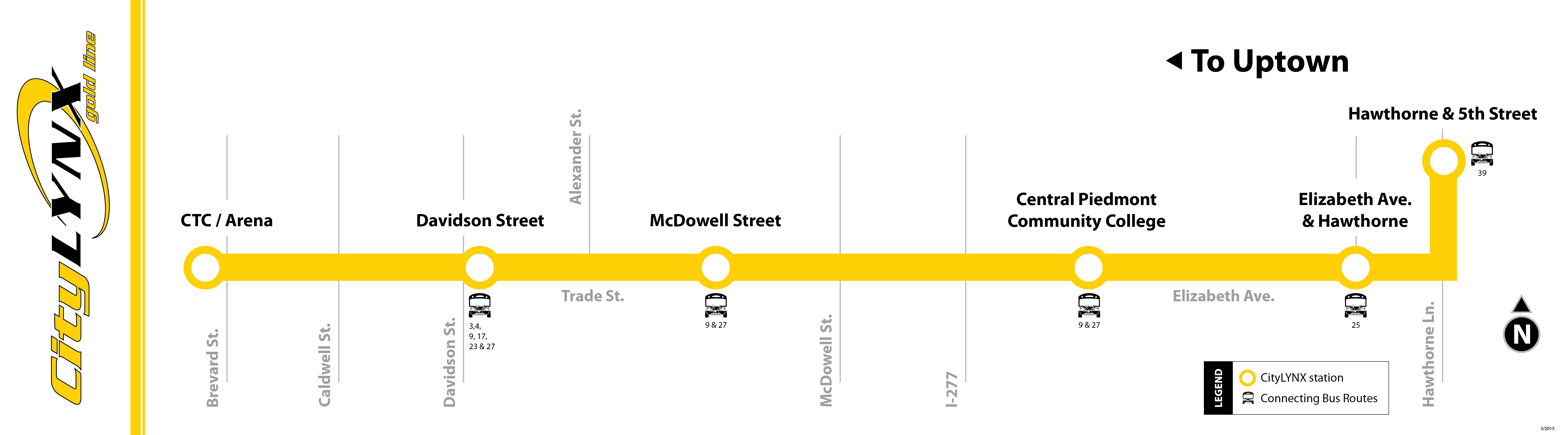 Picture map of gold line street car. The service starts at the Charlotte Transit Center and ends on Hawthorne & 5th Street