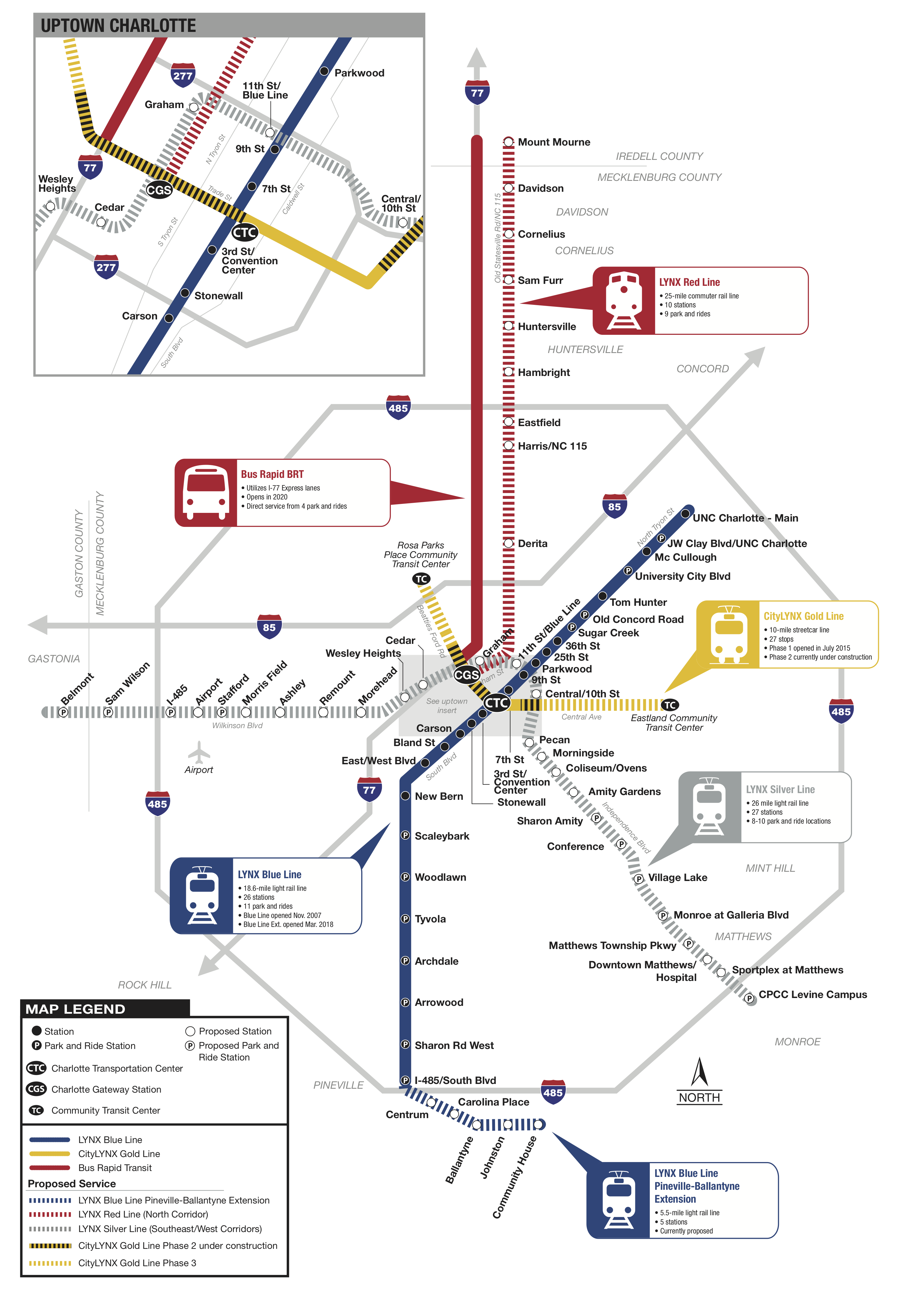 Graphic of LYNX System map with color coded lines indicating LYNX Blue Line and stations, CityLYNX Gold Line, LYNX Red Line (North Corridor) and proposed stations and park and rides, LYNX Silver Line with proposed stations and park and rides, and CityLYNX Gold Line Phases 2 & 3.