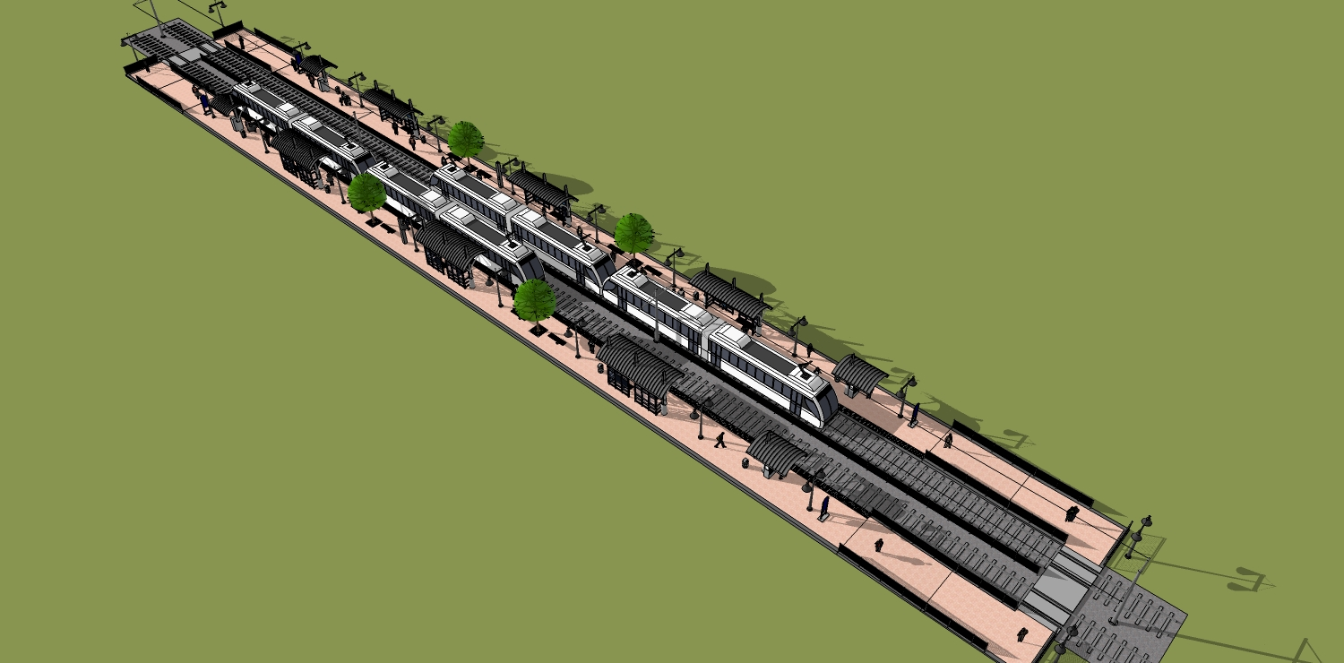 Picture rendering of 3 car train side platform
