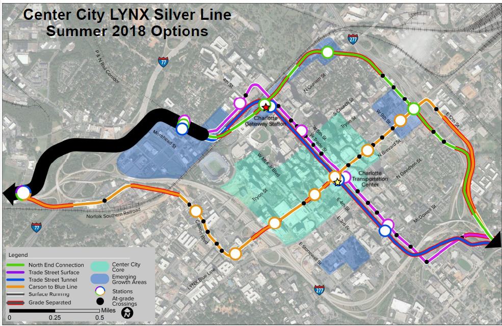 Map of the Center City LYNX Silver Line Summer 2018 Options. Color-coded map of the North End, Trade Street Surface, Trade Stree