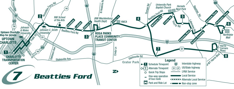 Route 7 Beatties Ford Rd. Map