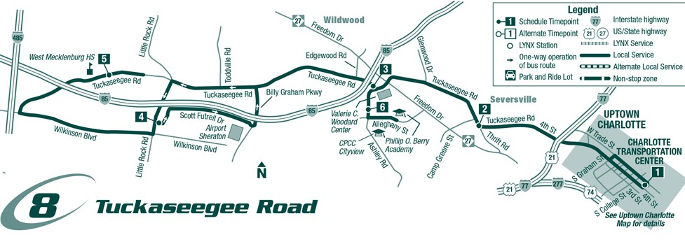 Route 8 Tuckaseegee Rd. Map