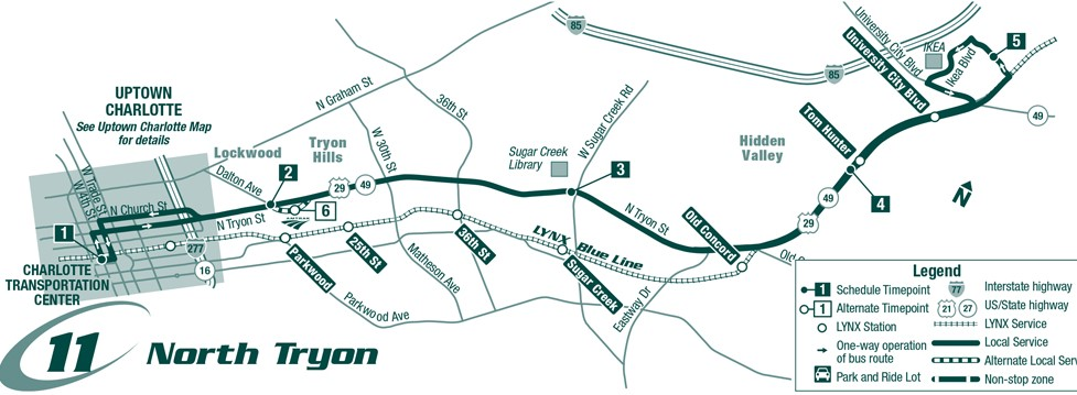 Route 11 North Tryon Map