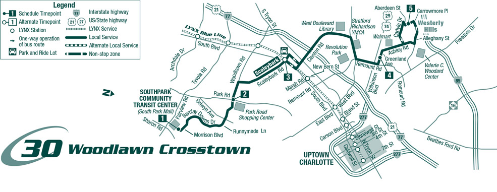 Route 30 Woddlawn/Scaleybark Crosstown Map