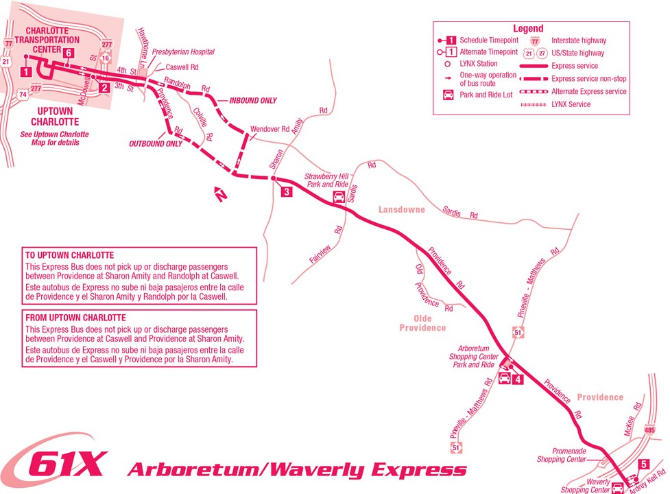 Route 61X Arboretum/Waverly Express Map
