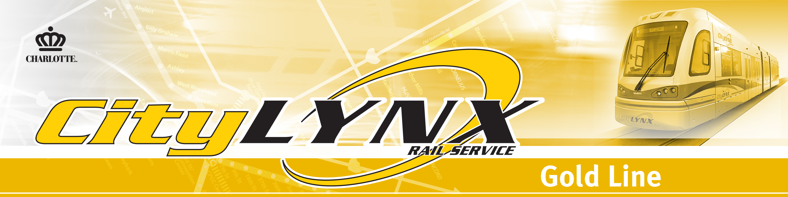 CityLYNX Gold Line Page banner with image of streetcar in Gold tint